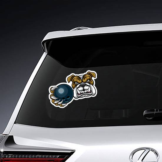 A Bulldog Dog Angry With Bowling Ball Sticker