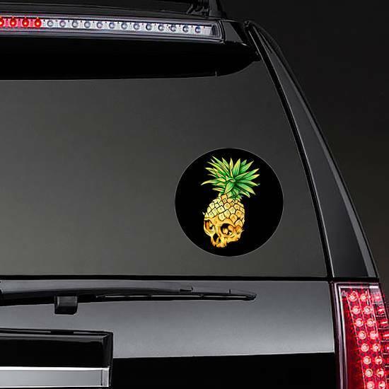 Pineapple Skull Sticker on a Rear Car Window example