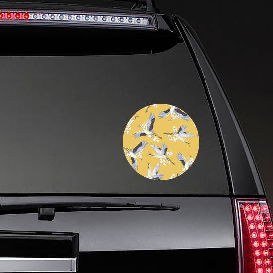 Japanese Seamless Pattern Of Birds And Water On Yellow Sticker example