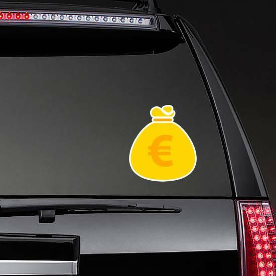 Euro Money Bag Icon Sticker on a Rear Car Window example
