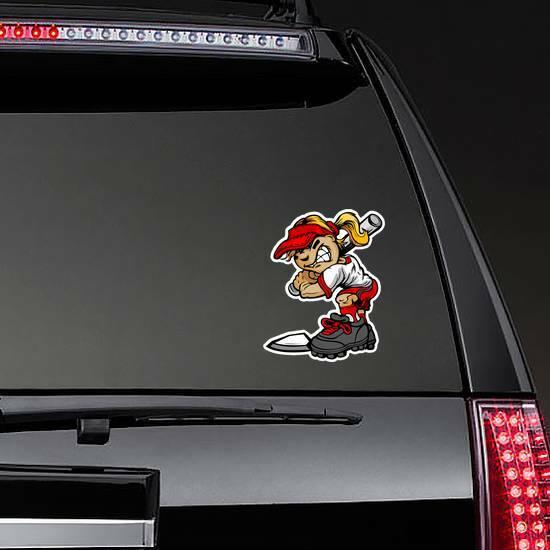 Fast Pitch Softball Girl Sticker on a Rear Car Window example