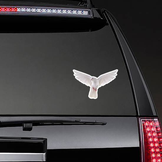 Free Flying White Dove Isolated On A White Background Sticker example