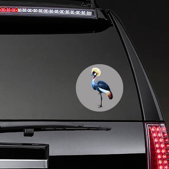 Grey Crowned Crane On Gray Background Sticker example