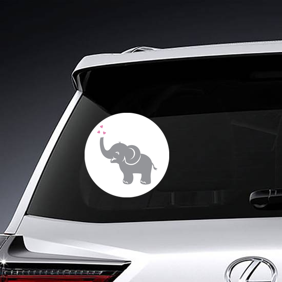 Adorable Baby Elephant With Hearts Sticker