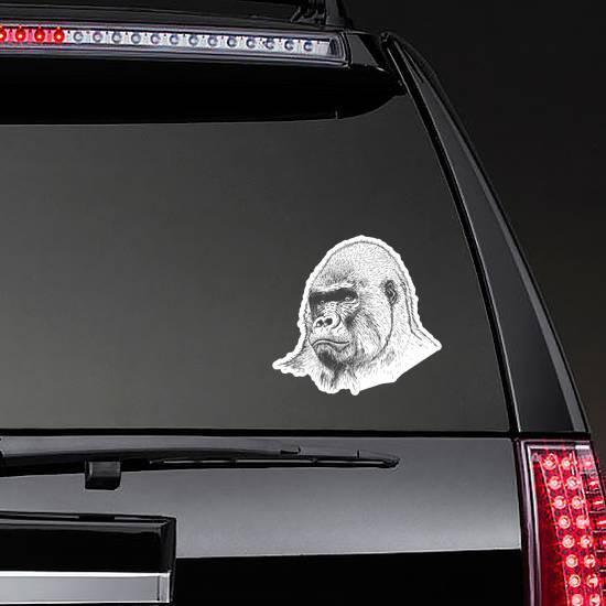 Gorilla Portrait Detailed Hand Drawn Style Sticker