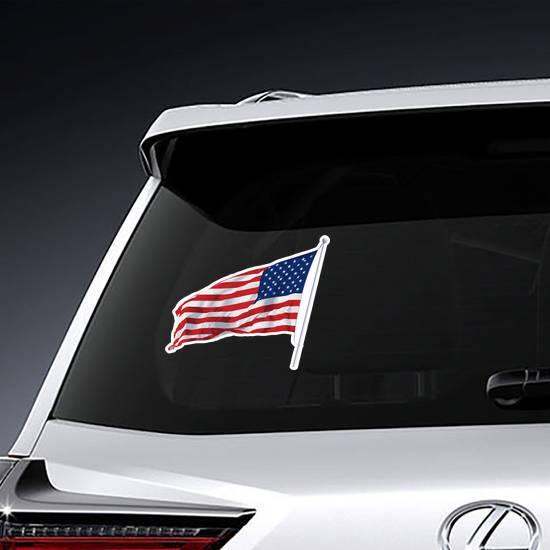 American Flag Waving Sticker example