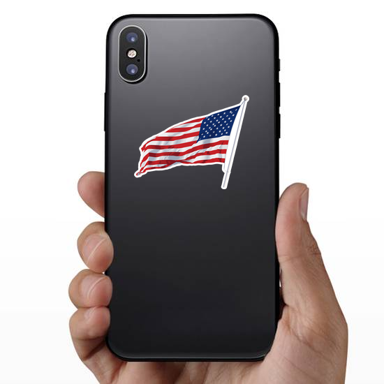 American Flag Waving Sticker