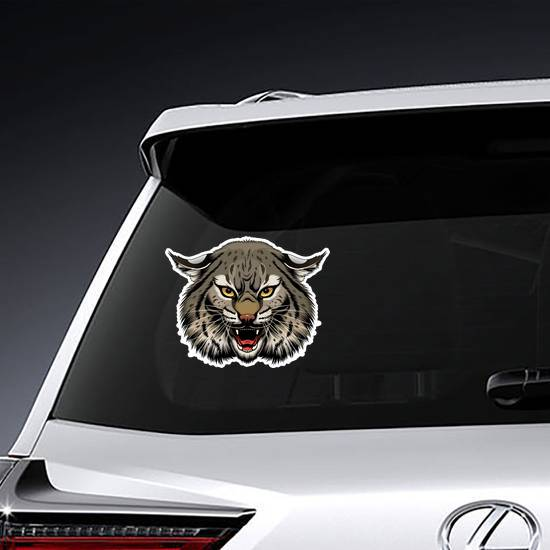 Angry Illustrated Bobcat Head Sticker