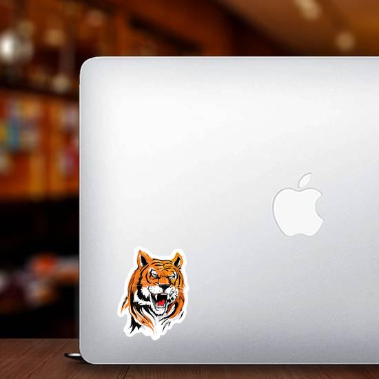 Angry Tiger Head Illustration Sticker
