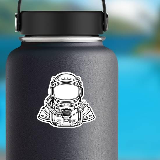 Astronaut In Space Suit Line Art Sticker