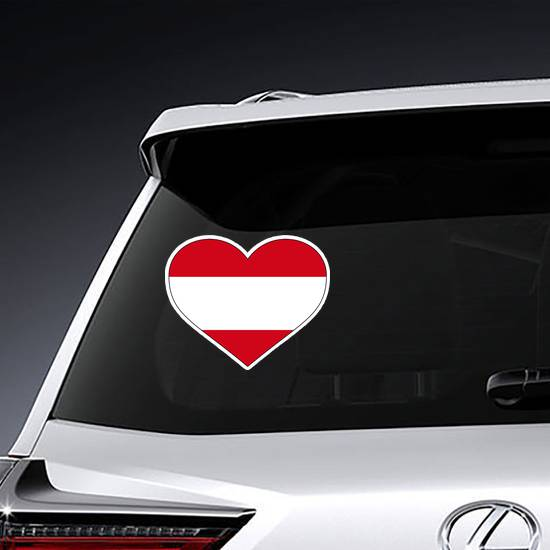 Austria Country Flag Shaped Heart Sticker example