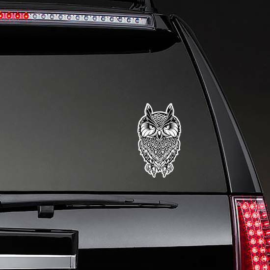 Wise Old Owl Illustration Sticker on a Rear Car Window example