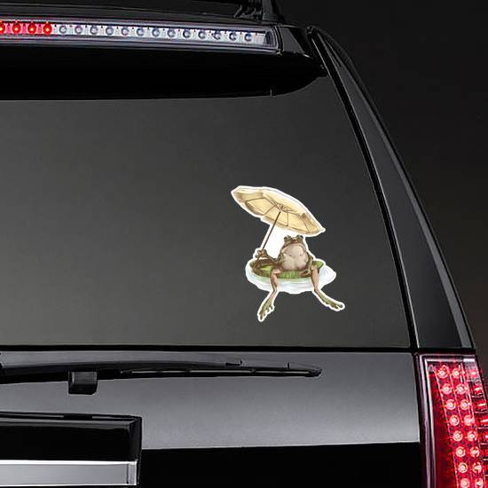 Frog Sitting On A Water Holding A Beach Umbrella Sticker