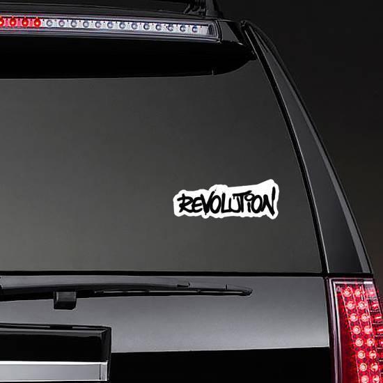 Graffiti Revolution Word Sprayed In Black Over White Sticker example