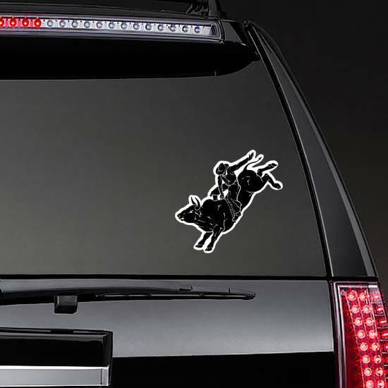 Bull Rider Black Sticker on a Rear Car Window example