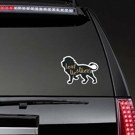 Lead The Others Lion Sticker on a Rear Car Window example