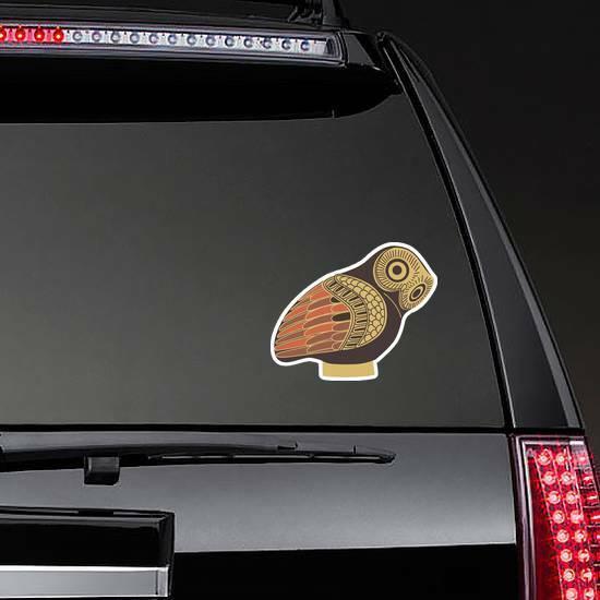 Ancient Greek Owl Sticker on a Rear Car Window example