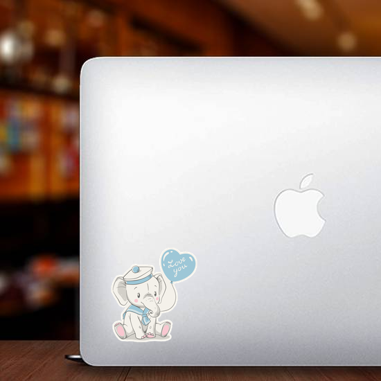 Baby Elephant In A Sailor Costume Sticker
