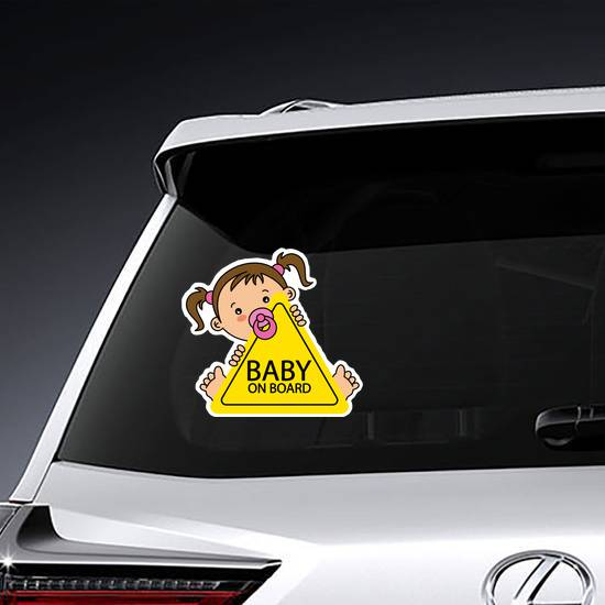 Baby On Board Pig Tail Girl Sticker example