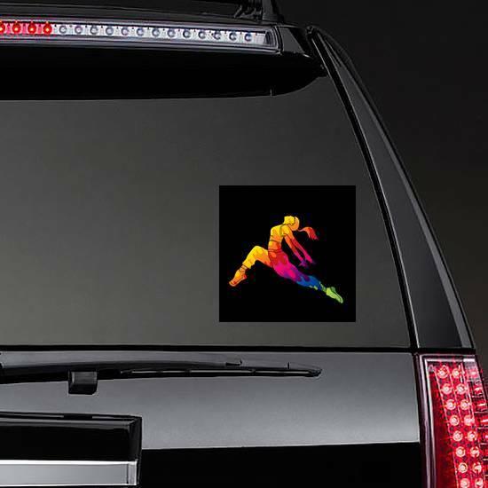 Colorful Female Street Dancer Sticker on a Rear Car Window example