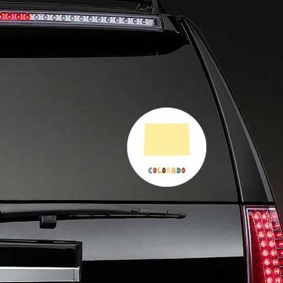 Colorado Map Cute Colorful Sticker on a Rear Car Window example