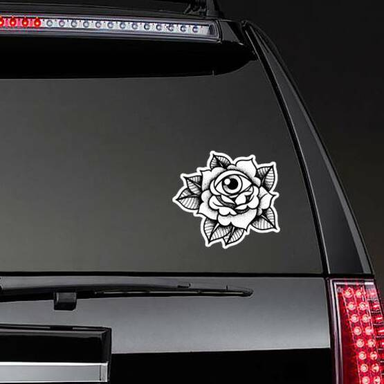 Old School Rose Tattoo With Eye Sticker on a Rear Car Window example