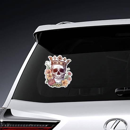 Beautiful Skull with Flowers and Crown Sticker
