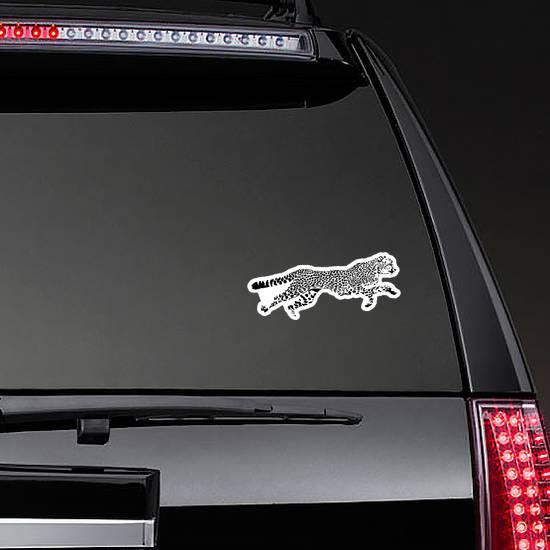 Black And White Sketch Of Running Cheetah Sticker