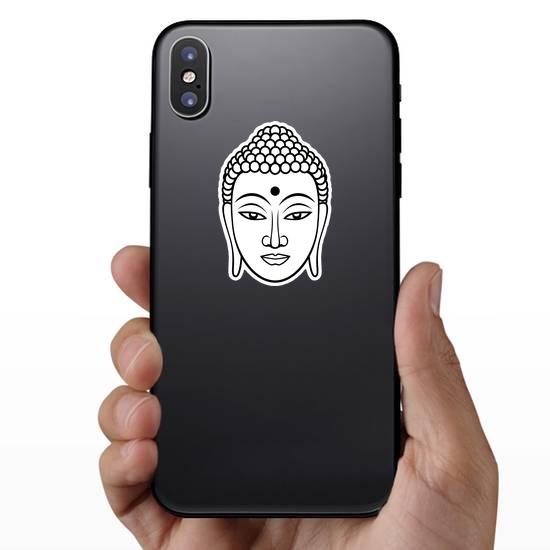 Black Line Buddha Face Sticker
