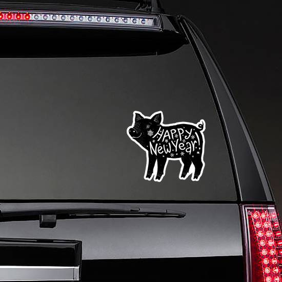 Black Pig Silhouette With White Happy New Year Lettering Sti