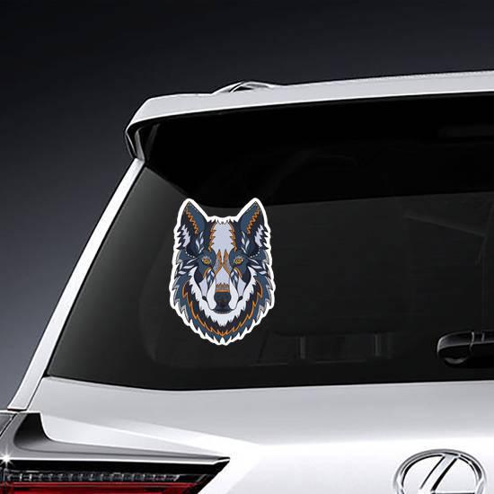 Blue and Orange Zentangle Wolf Head Sticker