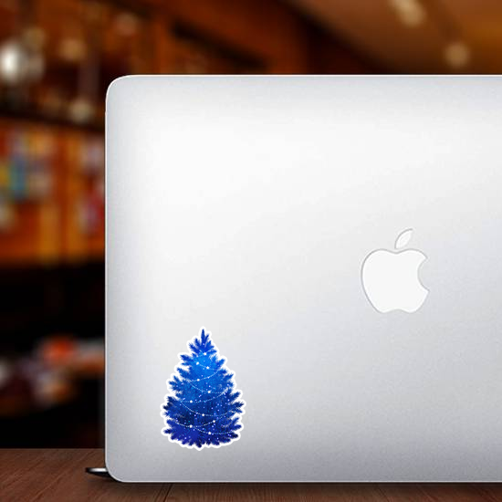 Blue Christmas Tree Sticker