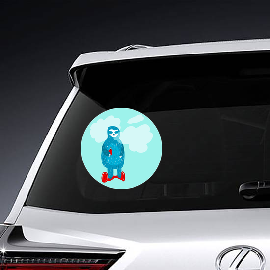 Blue Vaping Sloth On Hoverboard Sticker