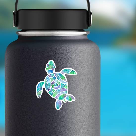 Blue Watercolor Turtle Sticker
