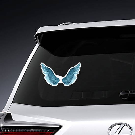 Blue Watercolor Wings Sticker example