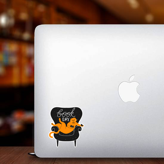 Book Day Cat In Cozy Chair Sticker