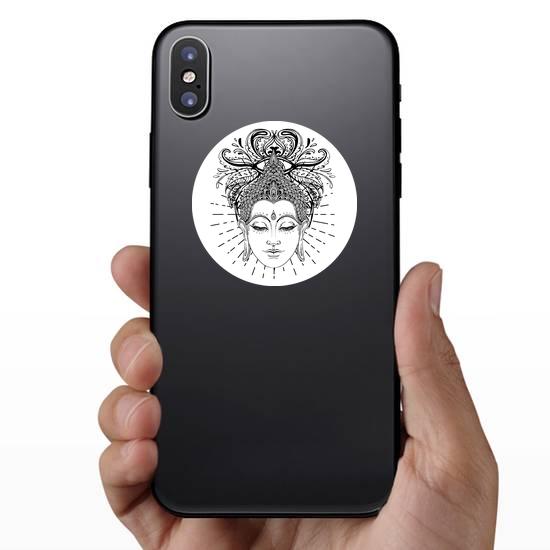Buddha Face Line Art Sticker