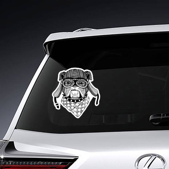 Bulldog Wild Biker Animal Wearing Motorcycle Helmet Sticker