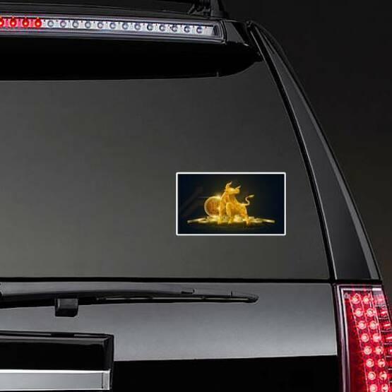 Golden Bullish Trend Bitcoin Sticker on a Rear Car Window example