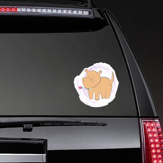 Cute Little Hippo With A Flower Sticker