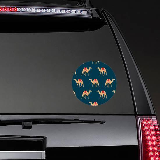 Camel Cartoon Pattern On Blue Sticker