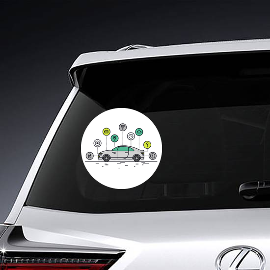 Car Technology Icons Sticker