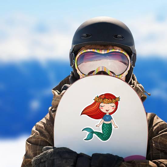Cartoon Beautiful Little Mermaid In A Wreath Sticker