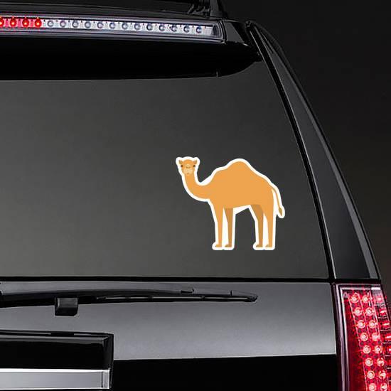 Cartoon Camel In Flat Style On White Background Sticker