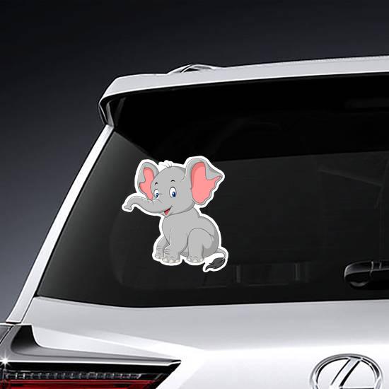 Cartoon Cute Baby Elephant Sitting Sticker
