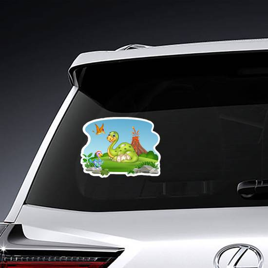 Cartoon Dinosaur Landscape Sticker