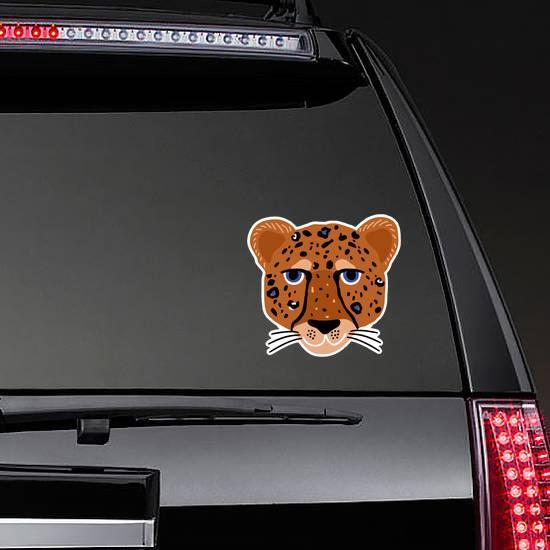 Cartoon Hand Drawn Cheetah Head Sticker