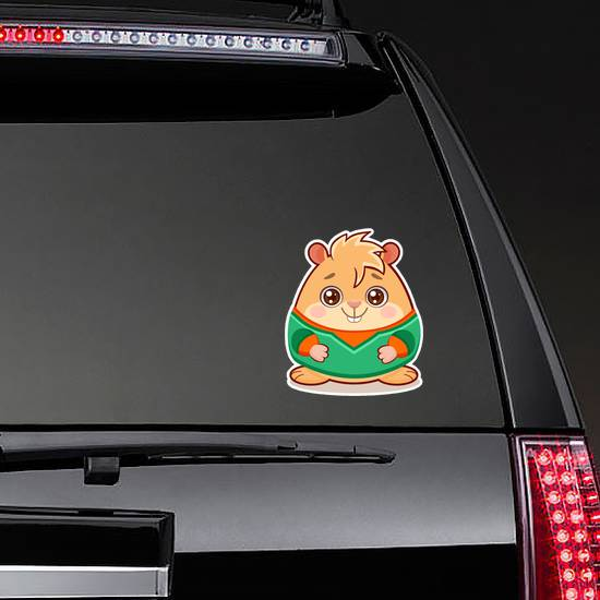Cartoon Illustration Of Cute Geek Hamster Sticker