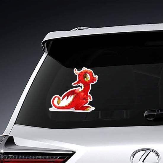 Cartoon Little Red Dragon Sticker