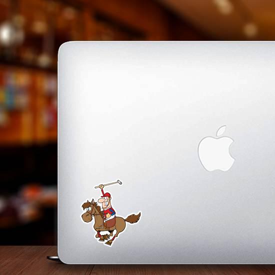 Cartoon Polo Player Sticker
